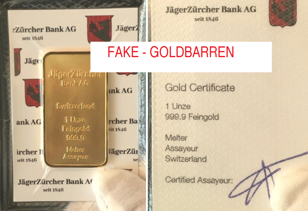 Jäger Zürcher Bank Goldbarren (Fake)