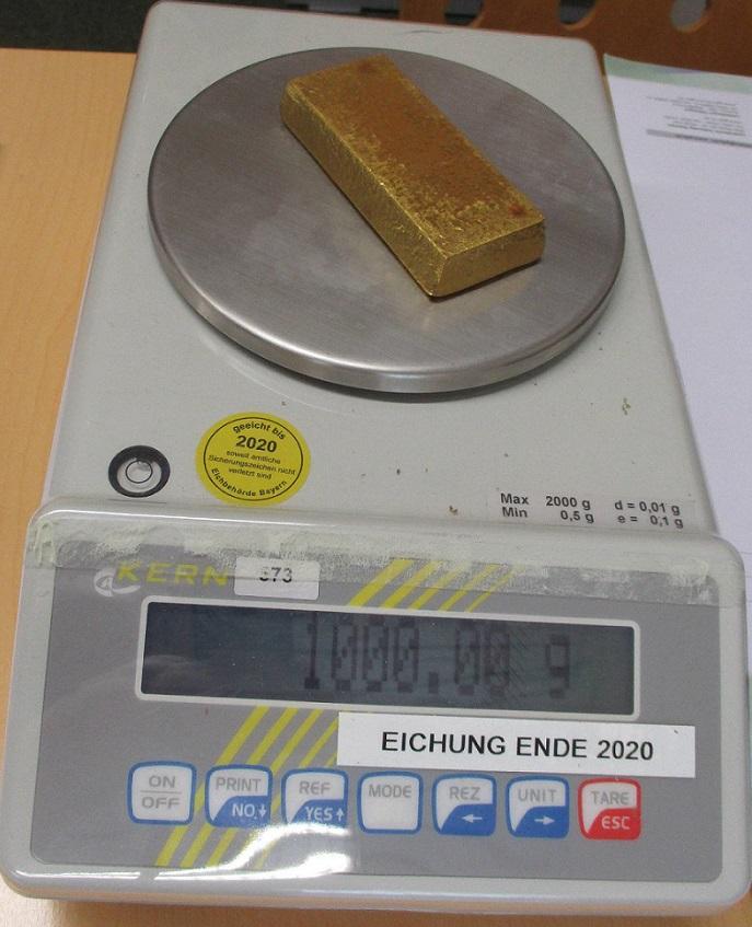 Goldbarren 1kg Waage