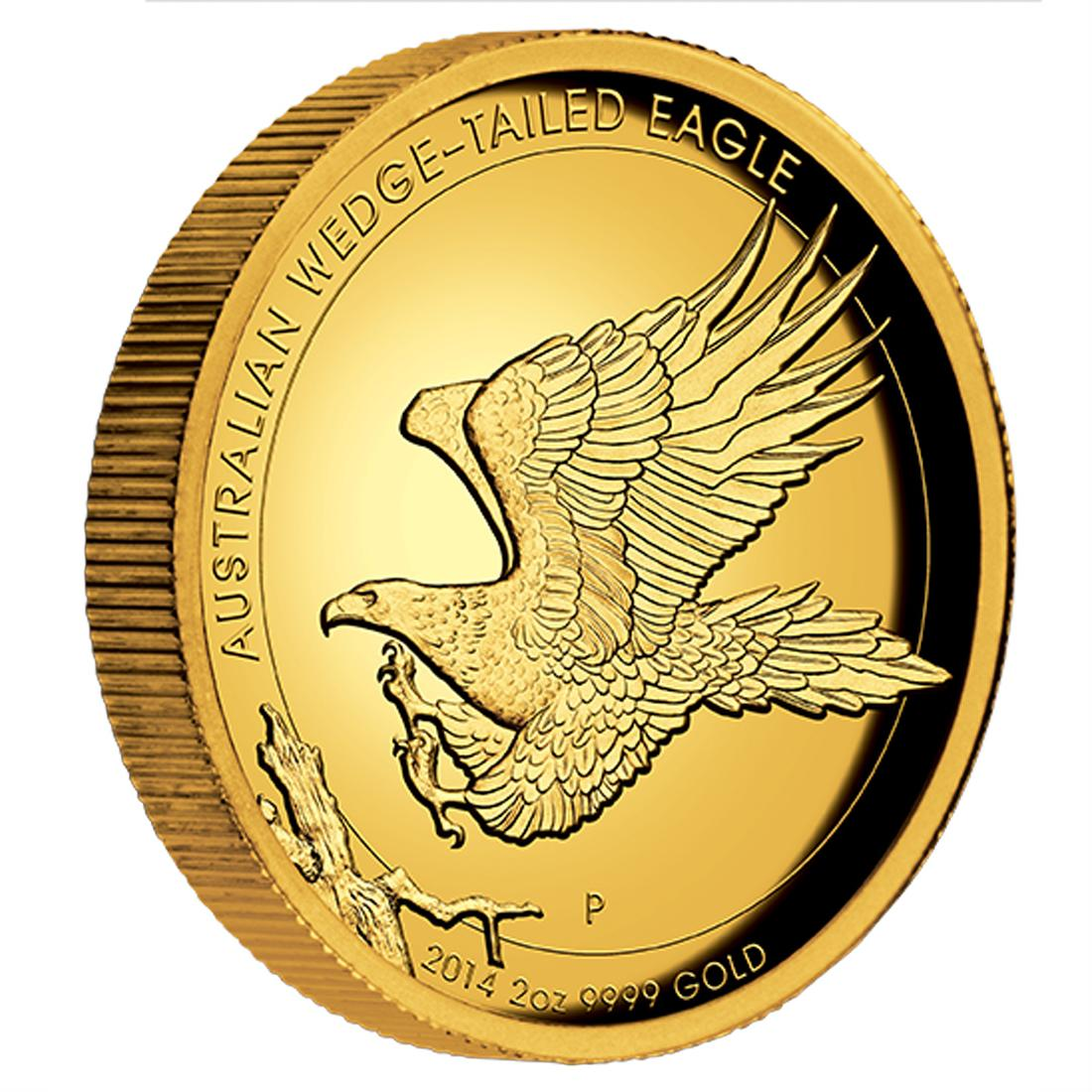 australian wedge tailed eagle 2014 2oz gold proof high relief coin reverse
