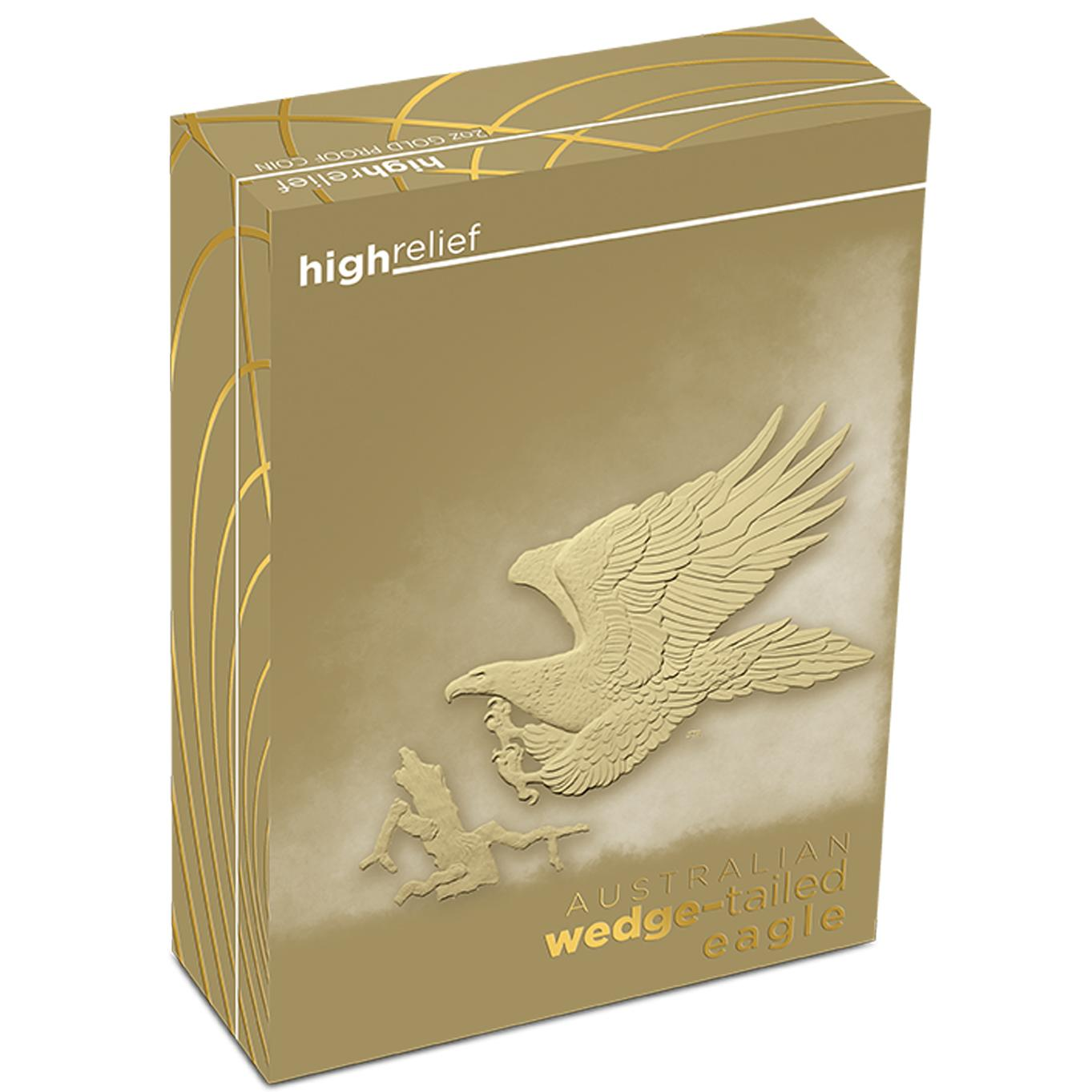 australian wedge tailed eagle 2014 2oz gold proof high relief coin shipper