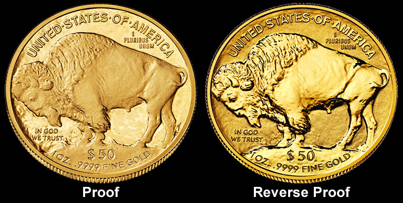 Proof and Reverse Proof 2013 W American Buffalo Gold Coin Images Reverses