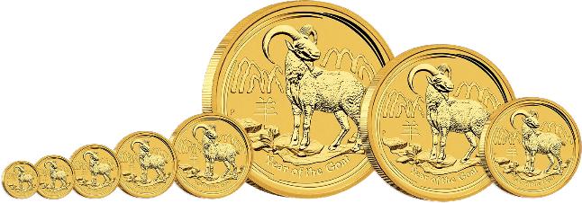 Australian Lunar Year of the Goat 2015 Gold Bullion Set