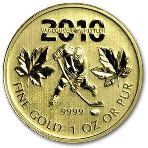 Ice Hockey Gold Maple Leaf Coin 1 oz9999