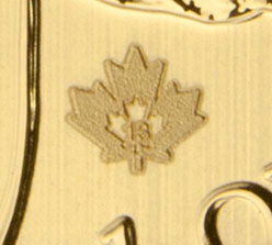 gold maple leaf security mark