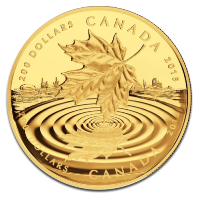 maple leaf reflection proof 200 dollars 1oz gold 2015