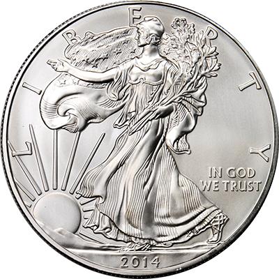 1oz 2014 silver american eagle obverse