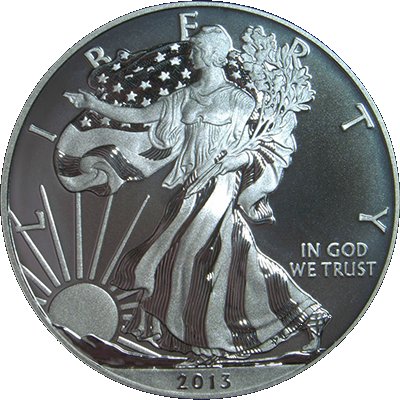 Obverse Image of 2013 W Enhanced American Eagle Silver Uncirculated Coin