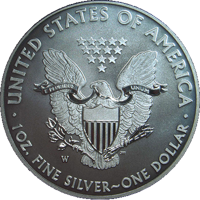 Reverse Image of 2013 W Enhanced American Eagle Silver Uncirculated Coin