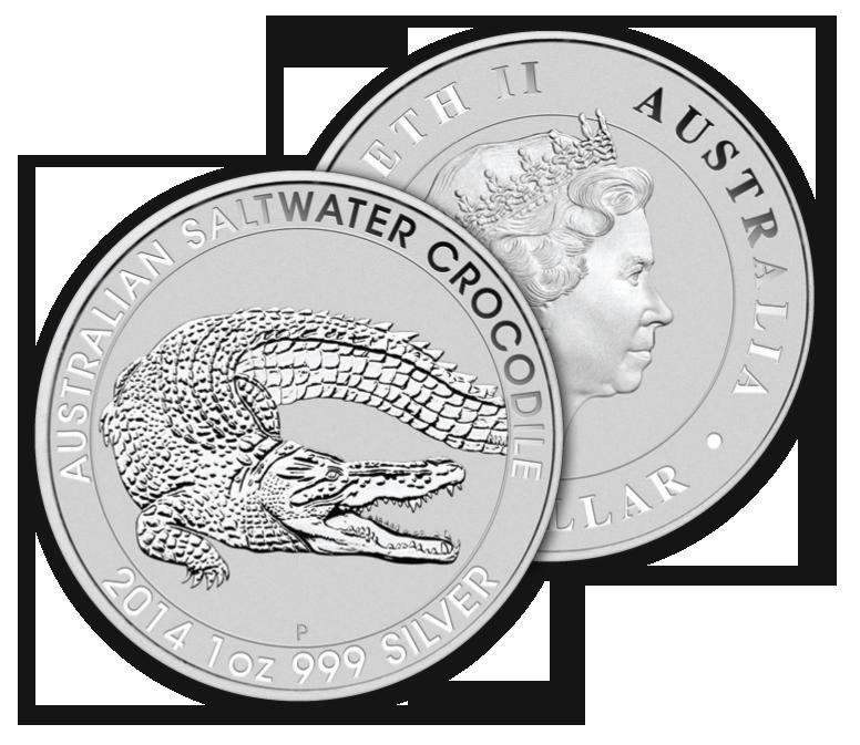 silver australian saltwater crocodile 1oz overlap