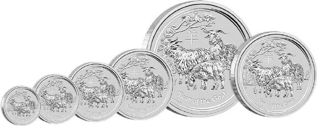 Australian Lunar Year of the Goat 2015 Silber Bullion Set