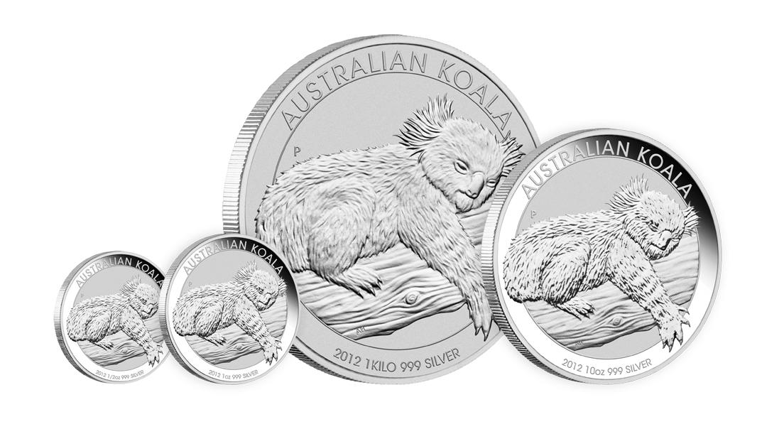 Koala Silber 2012 aus Australien - alle Größen erst ab Januar