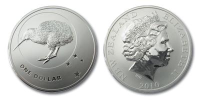 Kiwi 1oz Silber 2010 - beide Seiten