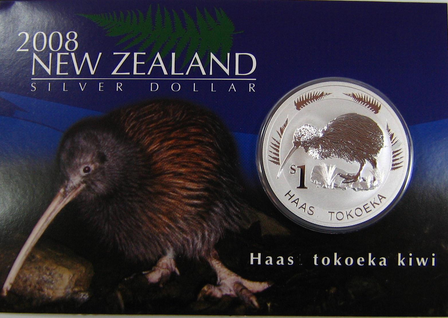 Kiwi 2008 1oz Silber in der kiwi-typischen Karte