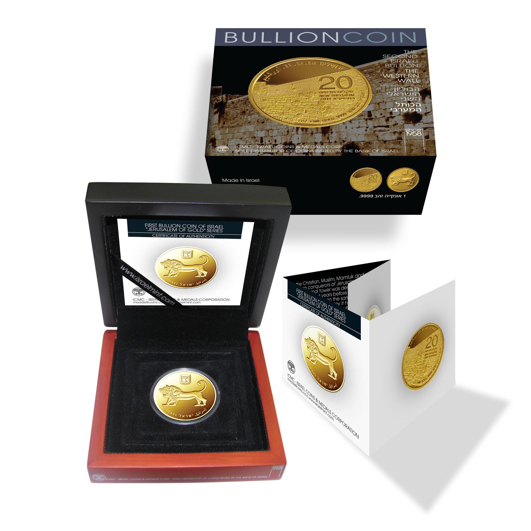 Anlagemünze aus Israel mit 1oz Gold: The Western Wall - hier im Etui mit Zertifikat