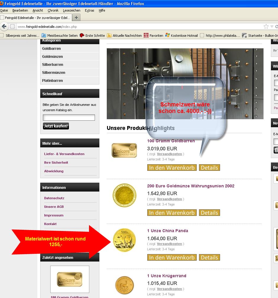 Gold deutlich unter Goldpreis bei Feingold-Edelmetalle.com - das geht nicht...