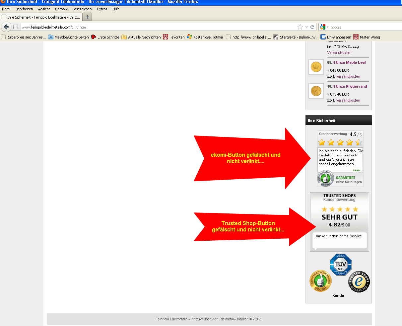 Sicherheitslabel einfach gefälscht bei Feingold Edelmetalle.com
