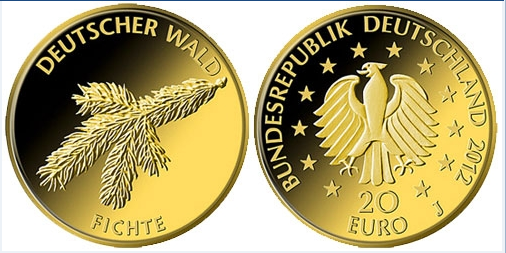 Ausgabepreis Fichte 20 Euro Goldmünze 2012 festgelegt
