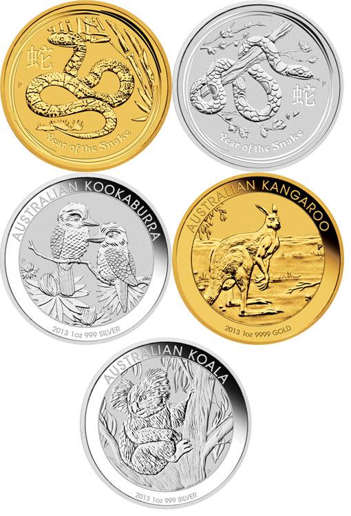 Australien Goldmünzen Silbermünzen 2013 incl. Schlange