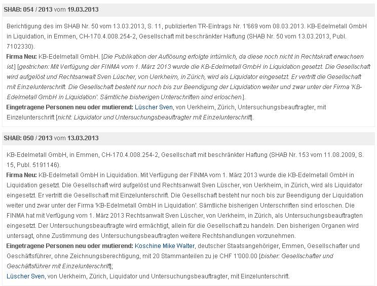 KB Edelmetall GmbH - Mike Koschine und die Schweiz