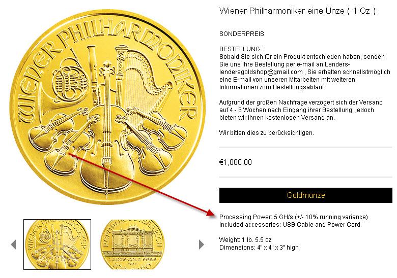 Goldmünze mit Prozessor