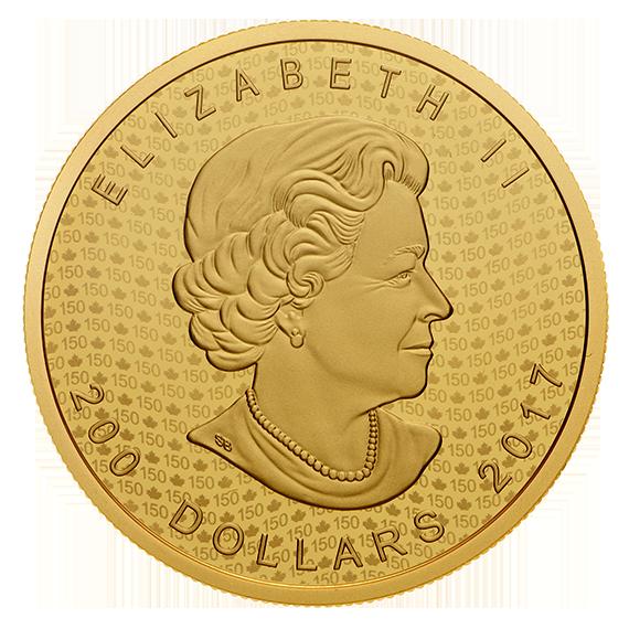 Maple Leaf 2017 99999 Goldmünze — Vorderseite — Canada 150 Iconic Maple Leaf Obverse