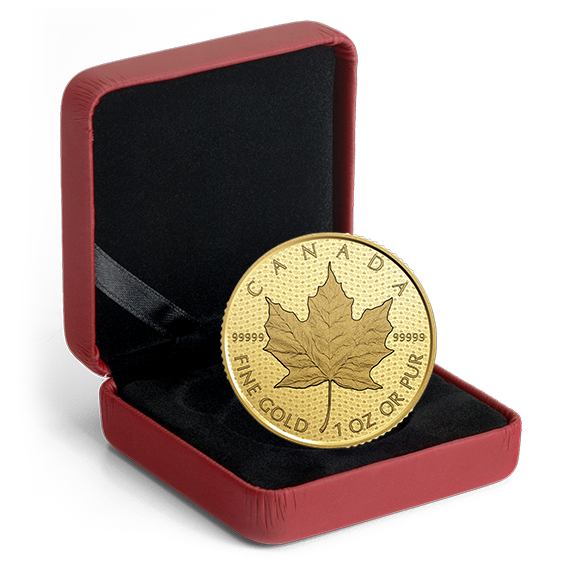 Maple Leaf 2017 99999 Goldmünze — Packung — Canada 150 Iconic Maple Leaf Package