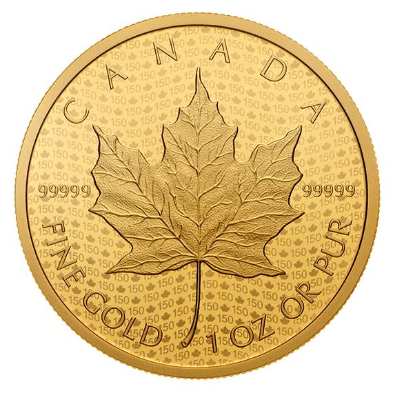 Maple Leaf 2017 99999 Goldmünze — Rückseite — Canada 150 Iconic Maple Leaf Reverse