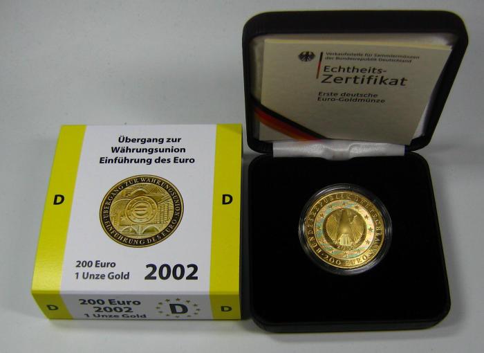 200 Euro Goldmünze Deutschlands 2002 1oz Gold