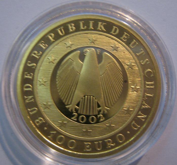 100 Euro 2002 Währungsunion Seite mit dem Adler