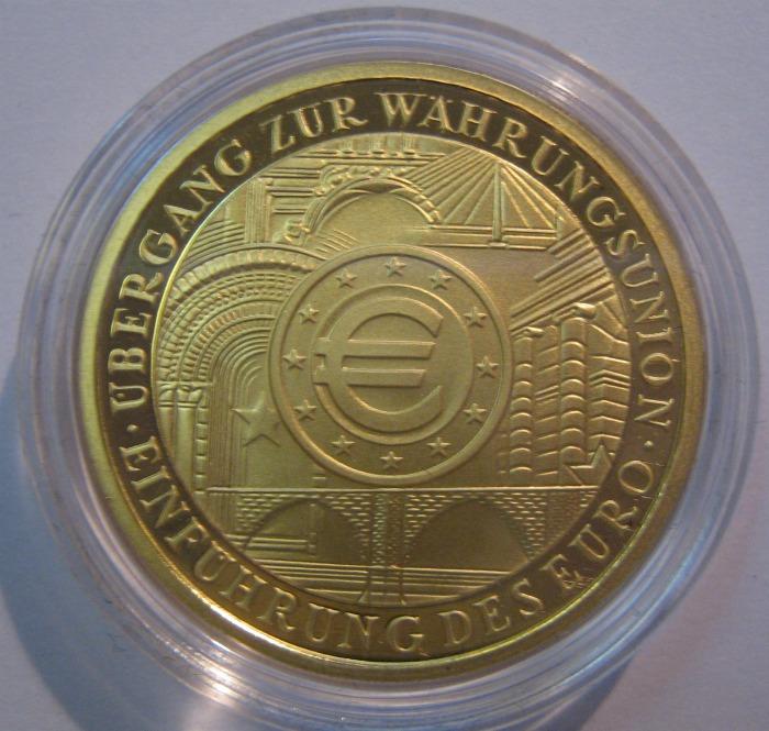 100 Euro Gold 2002 - Währungsunion - Seite mit dem Eurozeichen