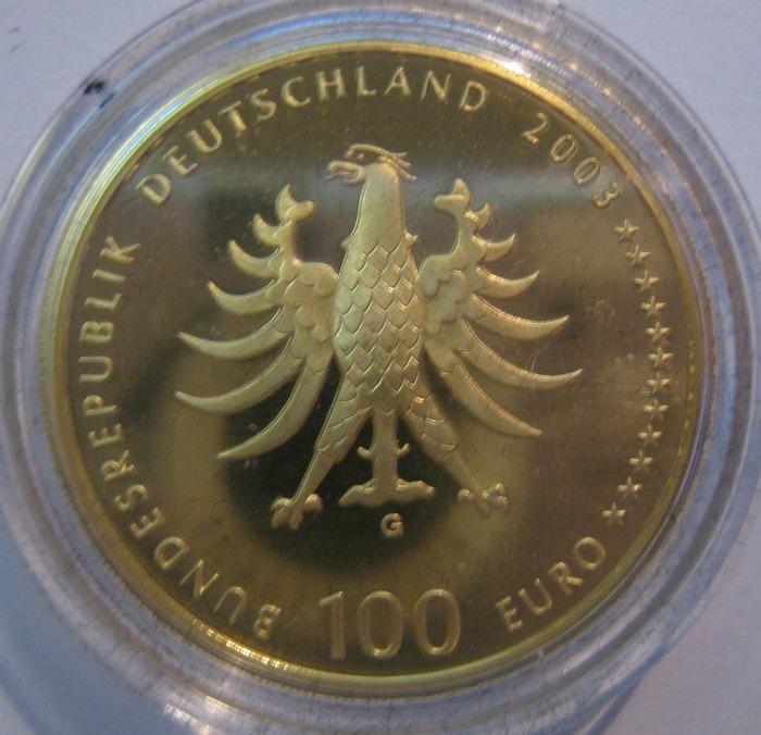 Goldeuro 100 Euro Quedlinburg 2003 - Nennwertseite