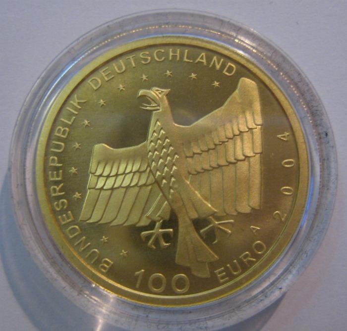 Goldeuro 100 Euro 2004 Bamberg Nennwertseite
