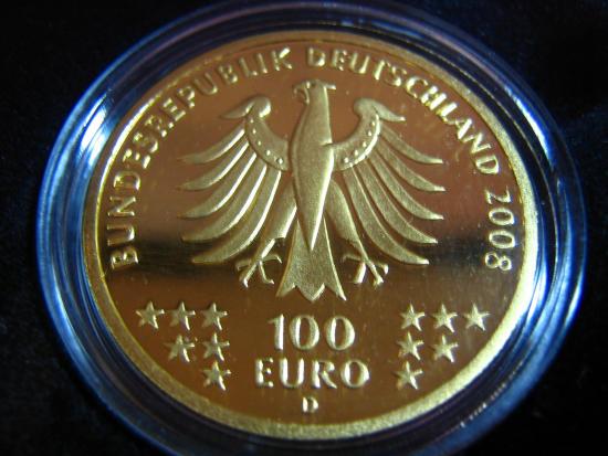 Goldeuro 100 Euro 2008 Goslar Nennwertseite