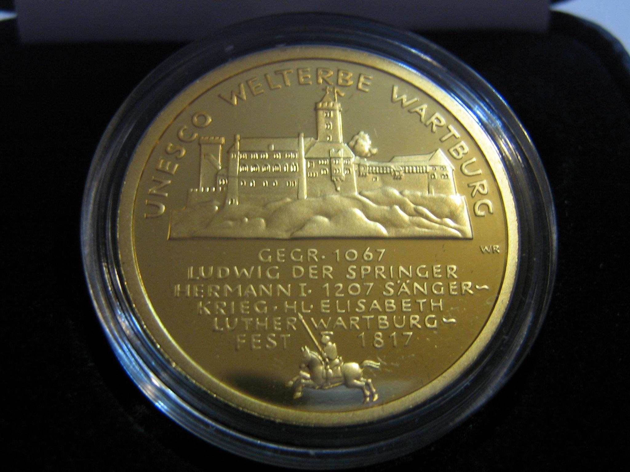 Goldeuro 100 Euro Wartburg 2011 Stadtansicht