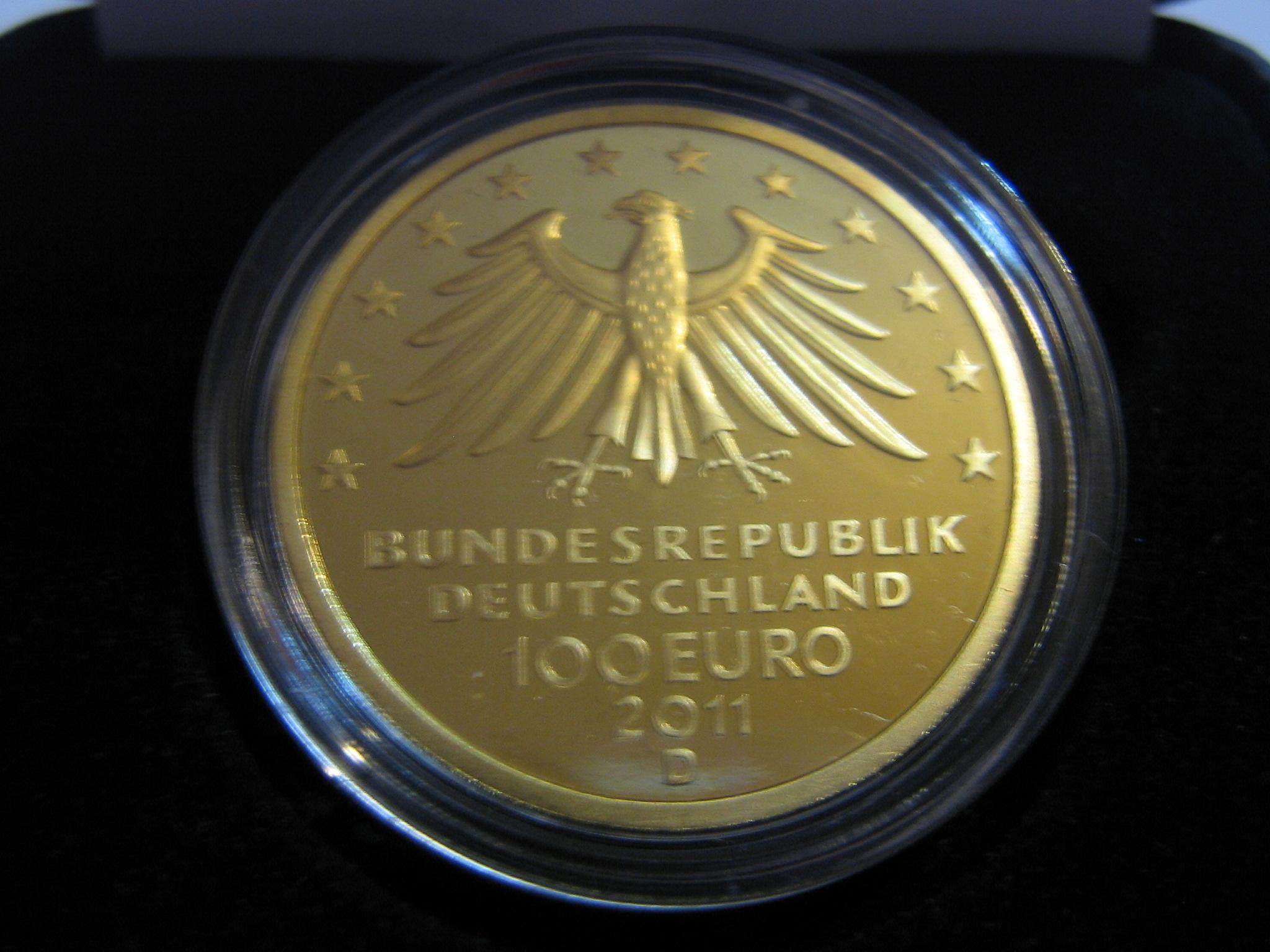 Goldeuro 100 Euro 2011 Wartburg Nennwertseite