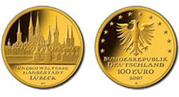 Goldeuro 100 Euro Gold 2007 Lübeck