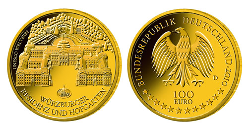 Goldeuro 100 Euro 2010 Würzburg