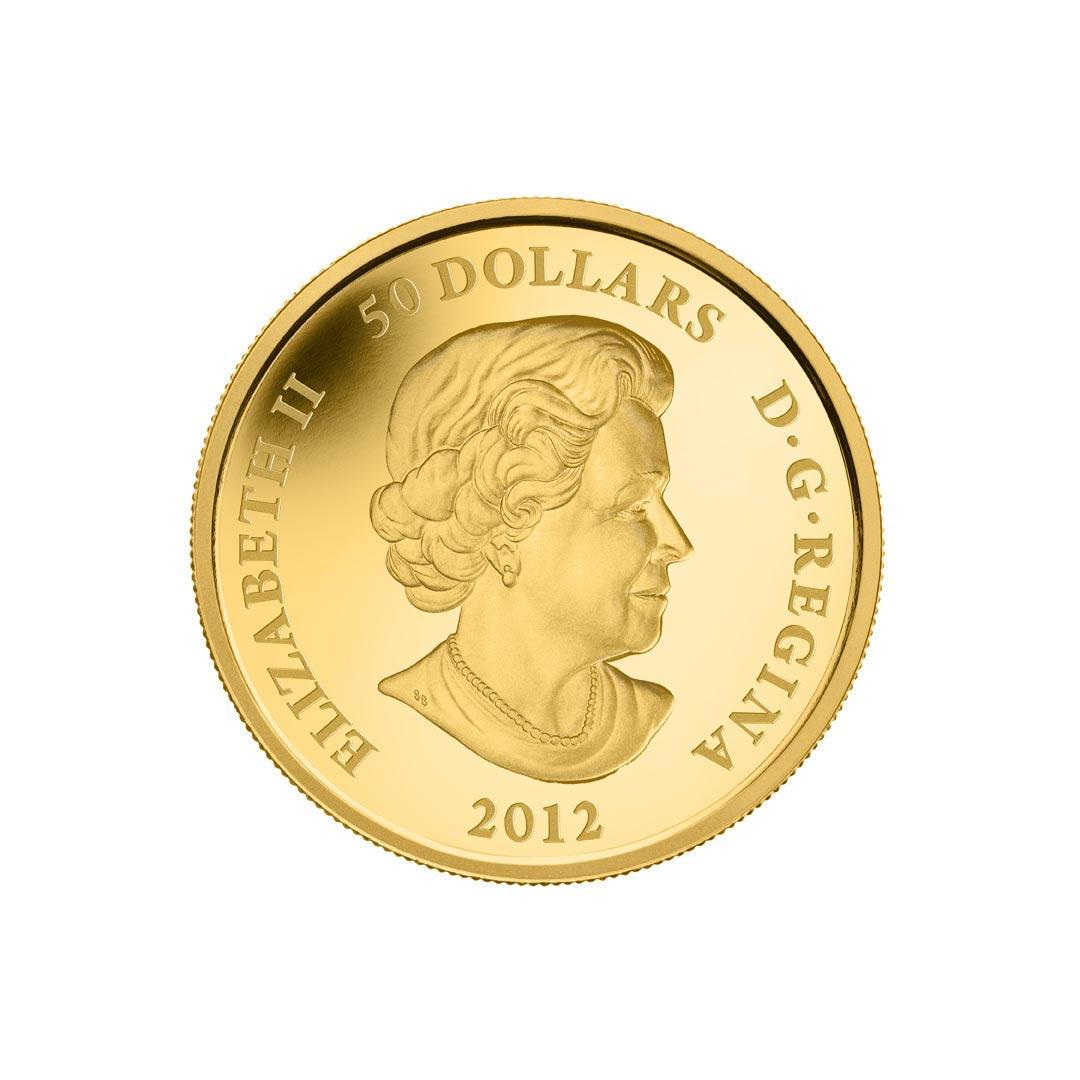 Queen Elisabeth ist auf der Rückseite der Drachen-Goldmünzen, hier die 1oz-Rückseite