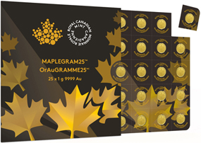 25 Maple Leaf Goldmünze mit je 1 Gramm