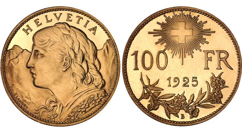 1925 100 Vreneli Gold