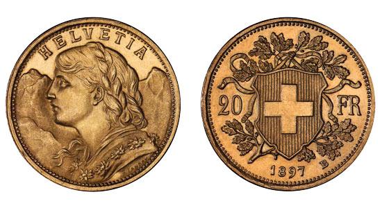 Vreneli Goldmünzen aus der Schweiz