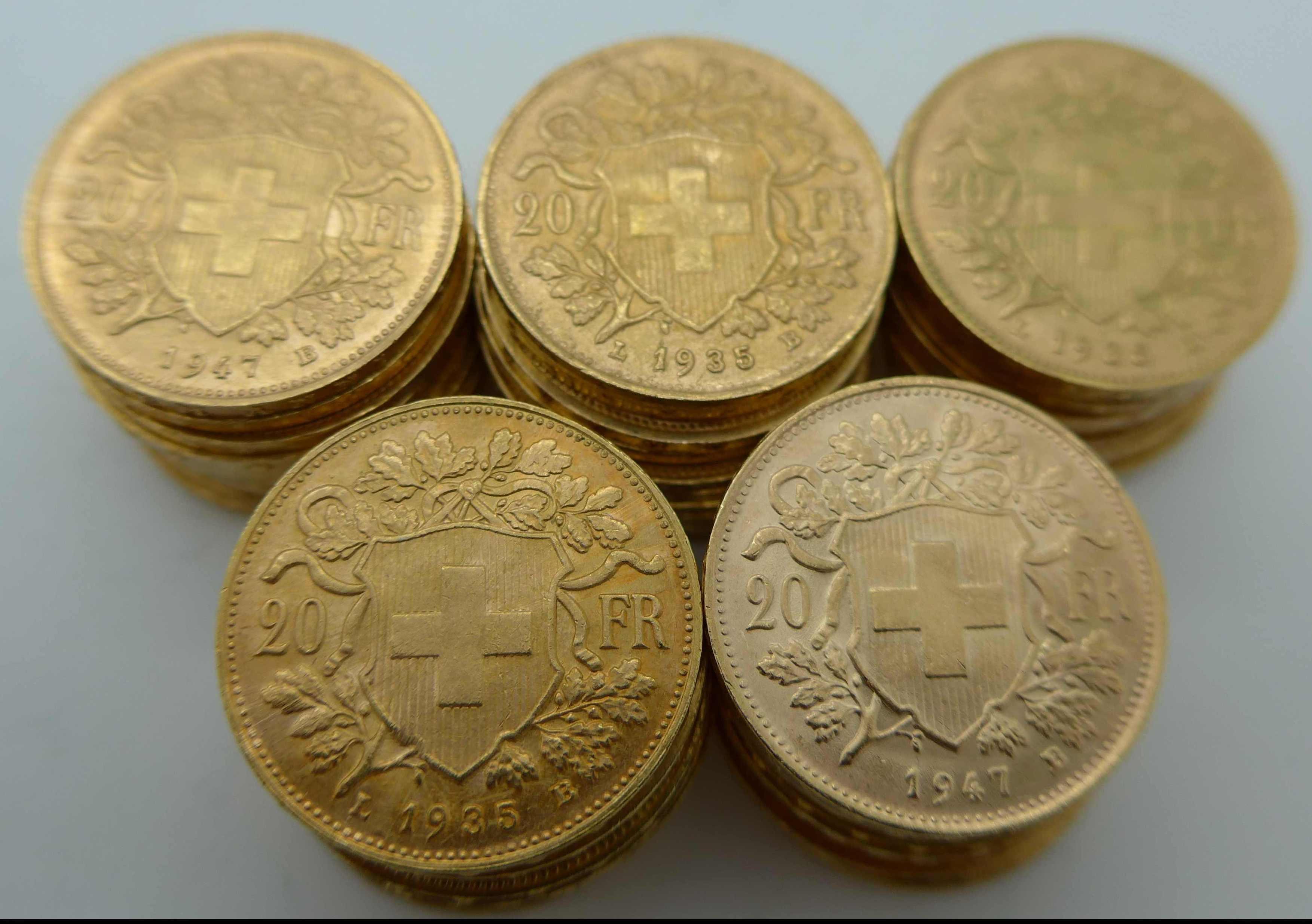 50 Vreneli Goldmünzen
