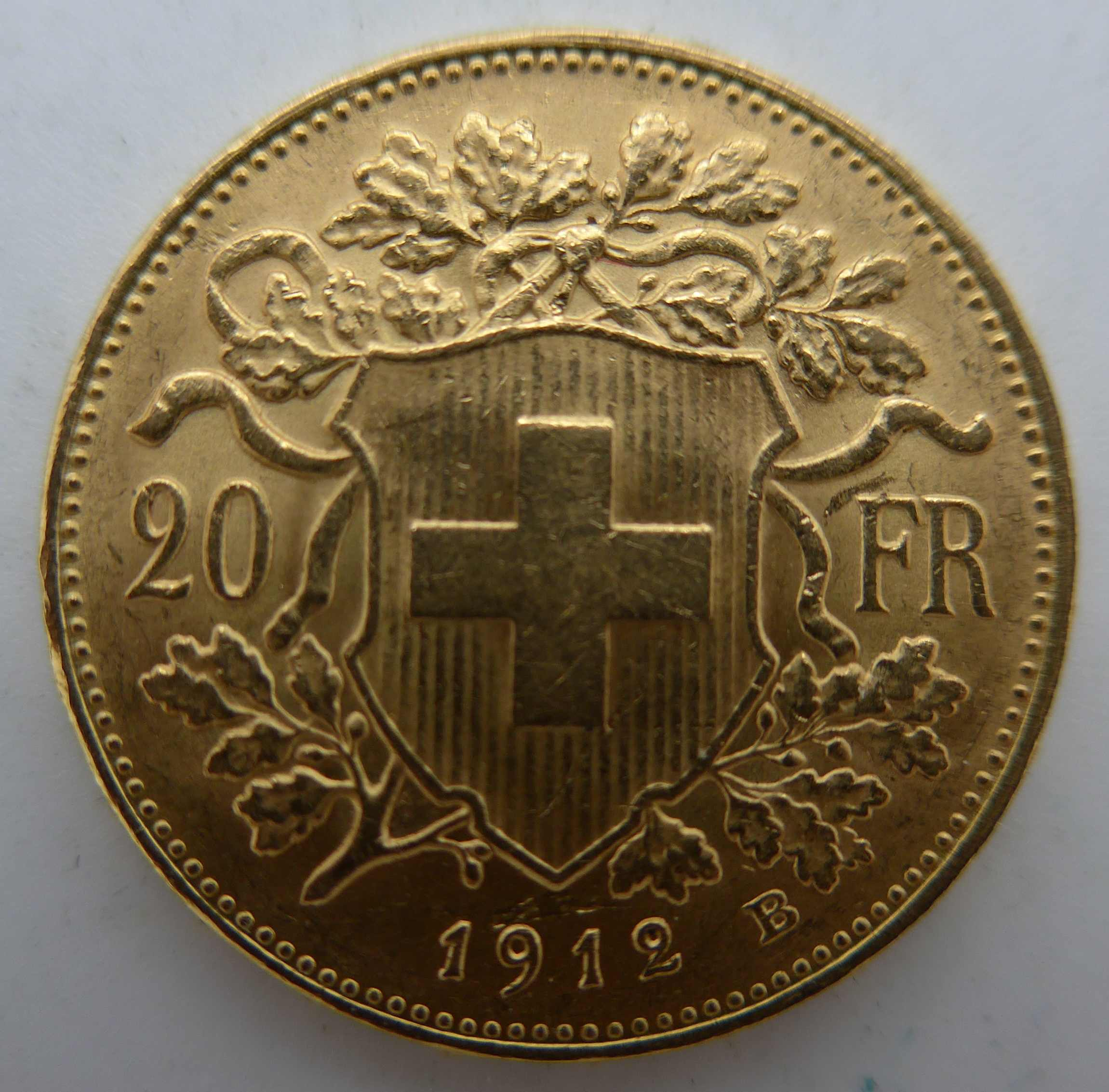 Vreneli 1912 Goldmünze zu 20 Francs