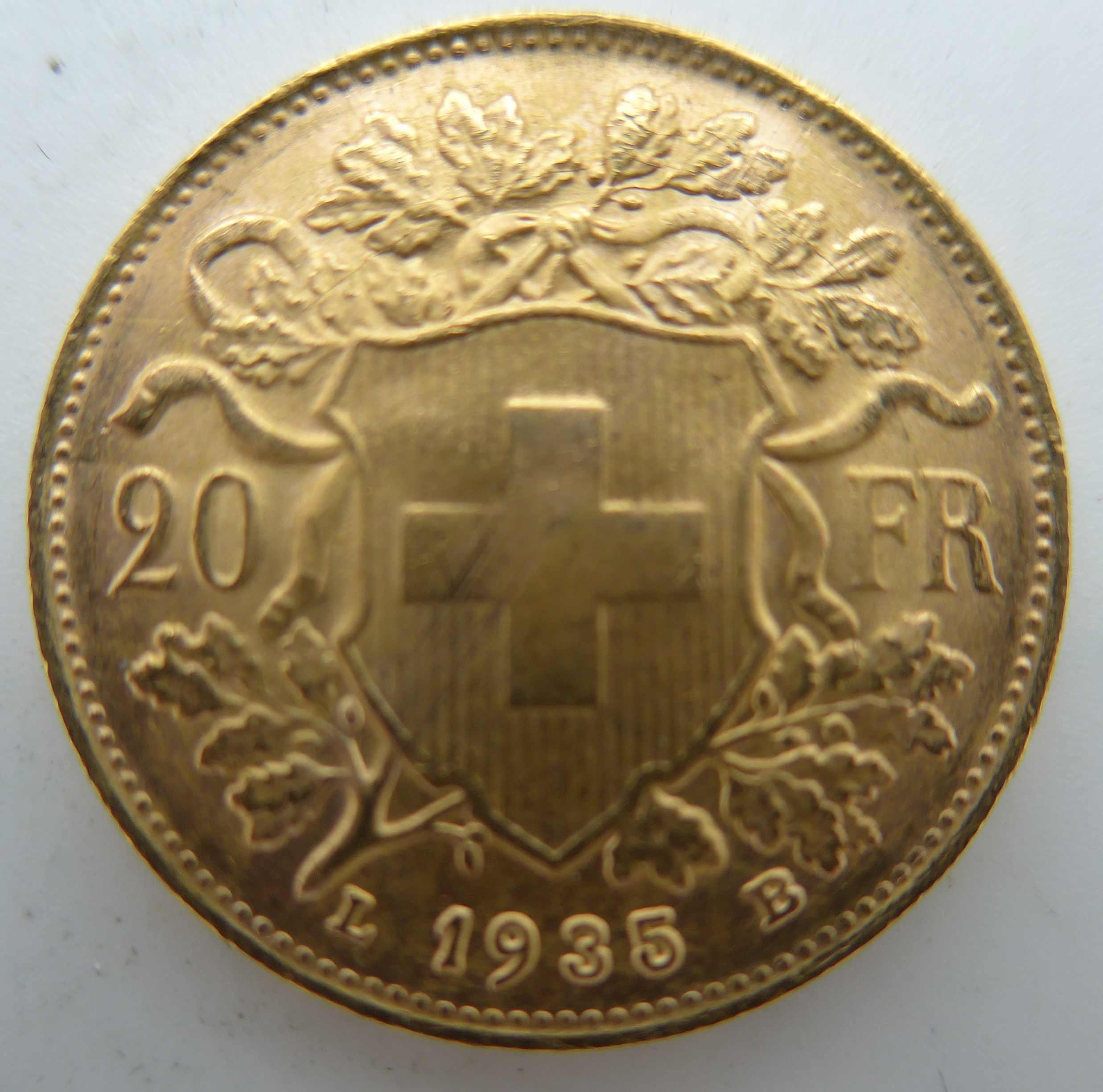 Vreneli Goldmünze 1935 mit dem L