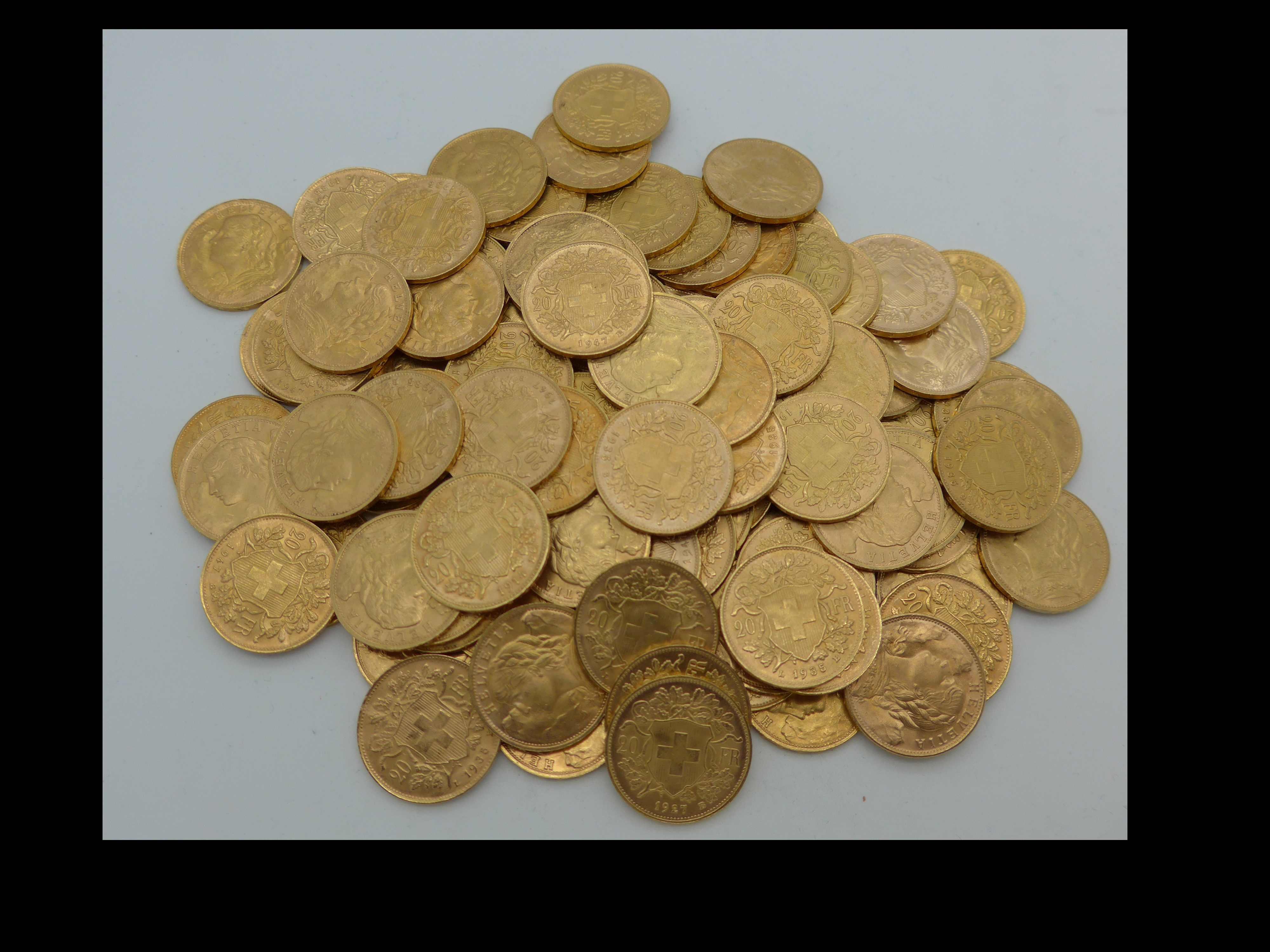 Vreneli Goldmünzen Haufen