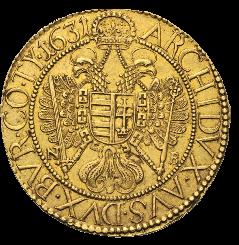 Doppeladler auf Goldmünze Ferdinand II.
